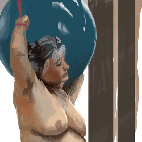 nude old woman holding a ball