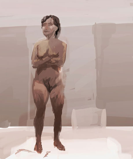nude girl standing with crossed arms