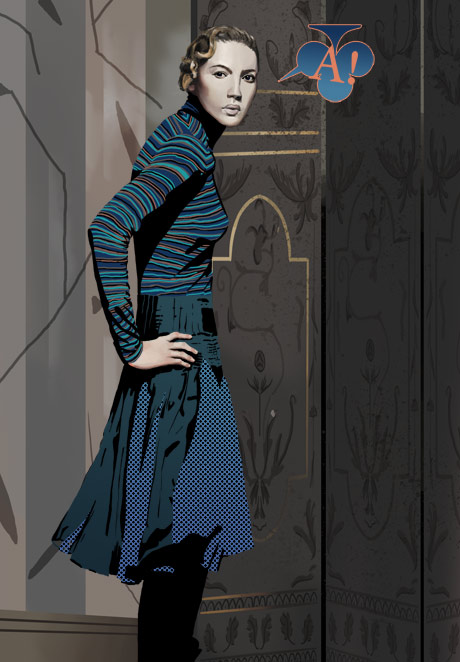 painting of a blonde girl with patterned clothing