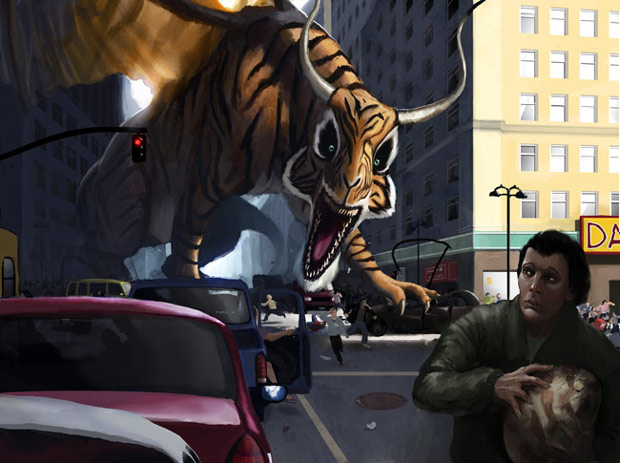 Tiger-Dragon wrecking havoc in the streets because somebody has stolen his egg