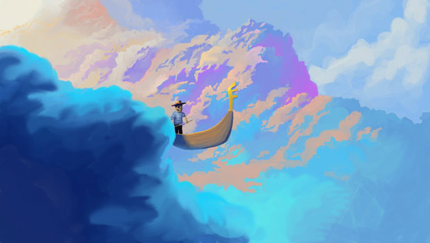 sceleton in a gondola floating through colorful clouds