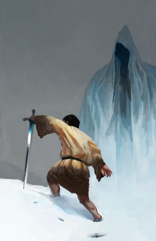 Man in linen tunic with a sword is cursed by a wraith in the snow