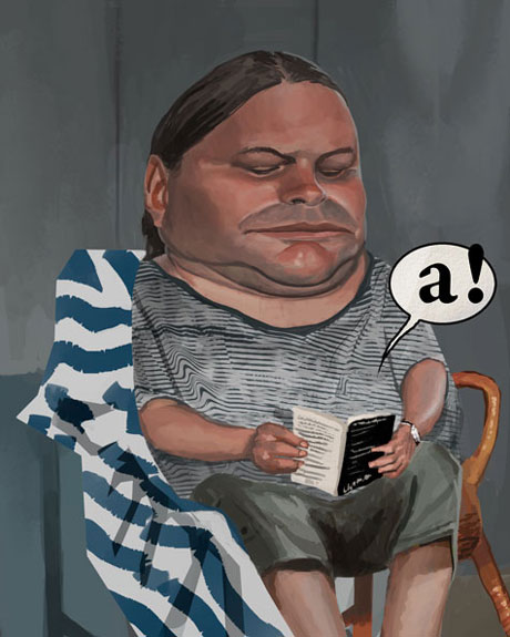 caricature of a fat man reading a book